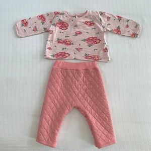 Petit Bateau Pink Floral Quilted Outfit 6 months